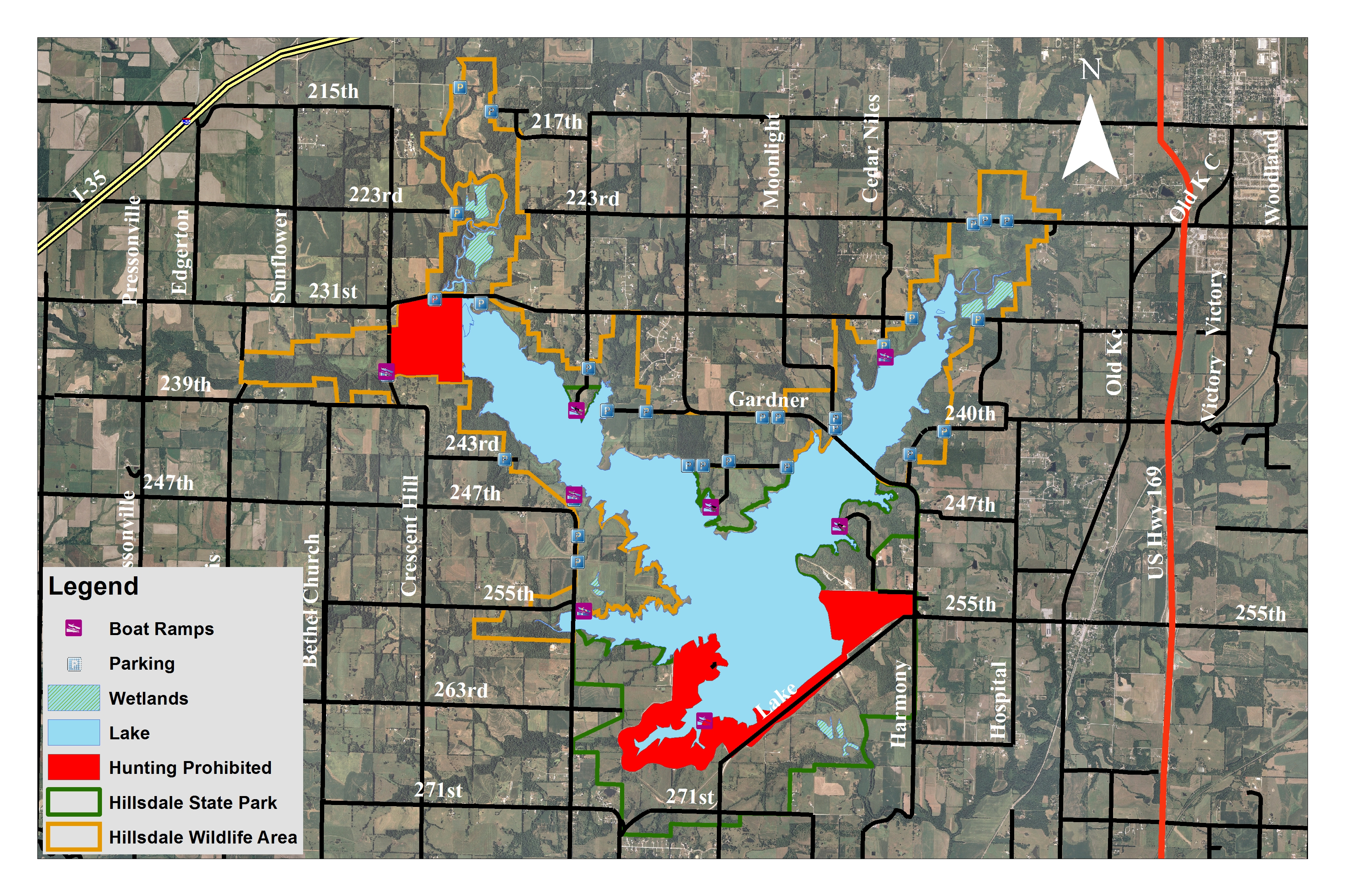 Hillsdale Northeast Wildlife Areas Locations KDWPT Info - Aerial hunting maps