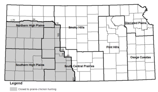 Figure 1 Map Of The Seven Small Game Management Regions Within Kansas Areas In Gray Are Closed To Prairie Chicken Hunting