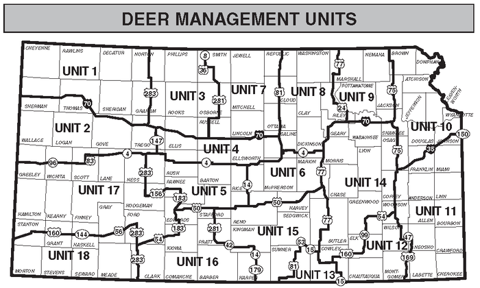 Kansas Deer Management Unit Map