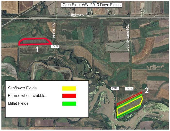 Glen elder dove fields 1 and 2 map images glen elder for Glen elder fishing report