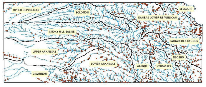 KS River Basin with Survey Sites