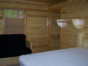 Bedroom in Evening Breeze Point cabins