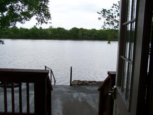 Looking out front door of The Landing