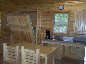 Murphy bed in Evening Breeze Point cabins