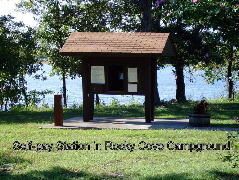 Self-pay station at Rocky Cove Campground