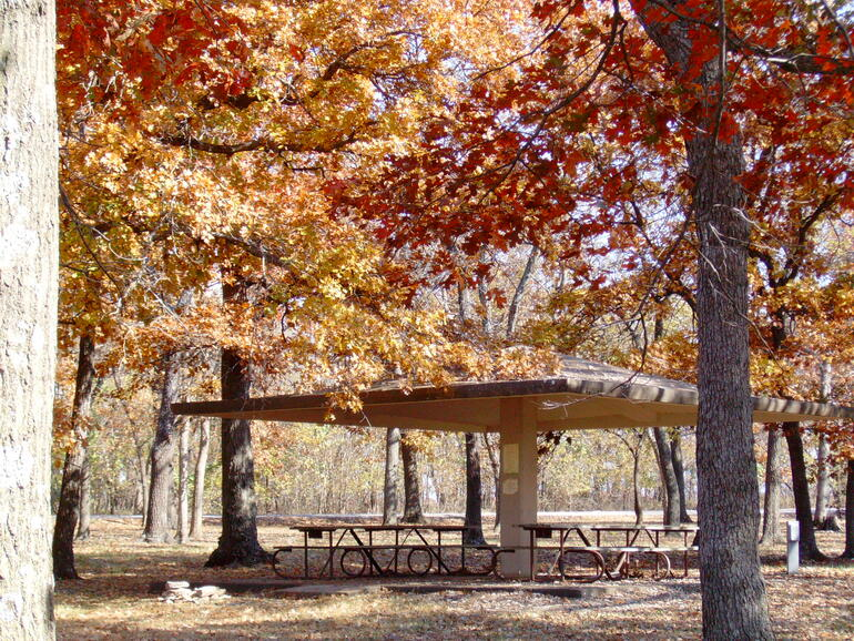 Shelter at Rocky Cove in the fall