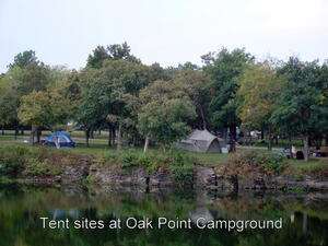Tent sites at Oak Point Campground