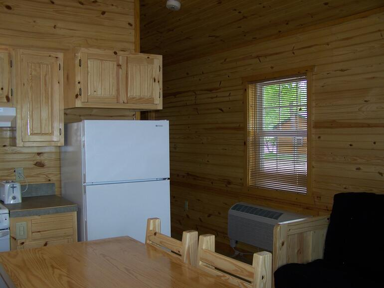 Veiw of hall from living rm/kitchen in Evening Breeze Point cabins