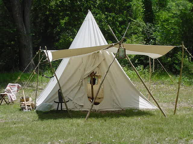 One of several period tents at PLR Rendezvous-Kanopolis State Park