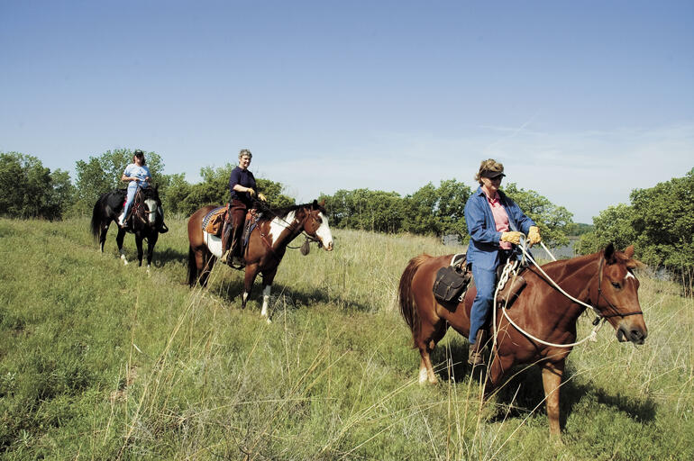 Trail riders at Kanopolis State Park