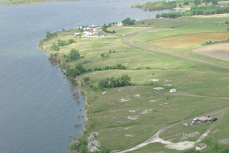 Aerial image of Webster shelters and shoreline