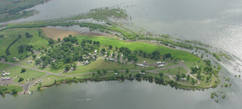Aerial view of Old Marina and Eagles Landing areas