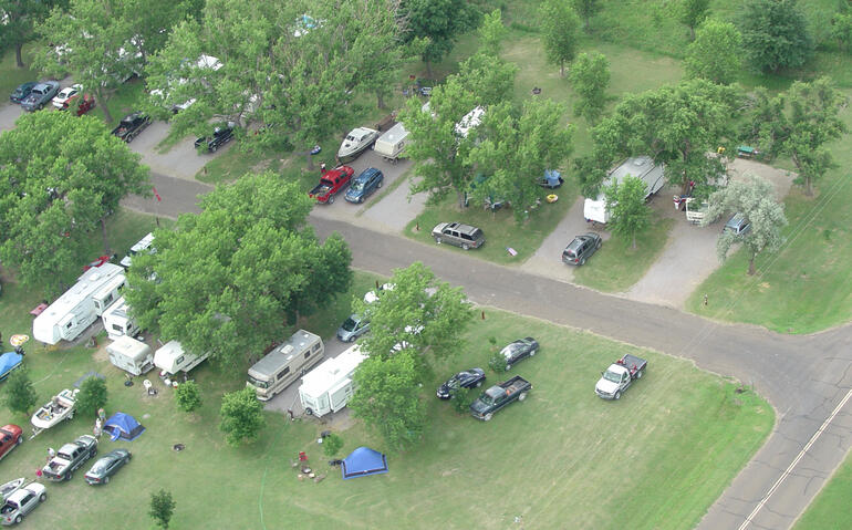 Aerial image of Old Marina campgrounds