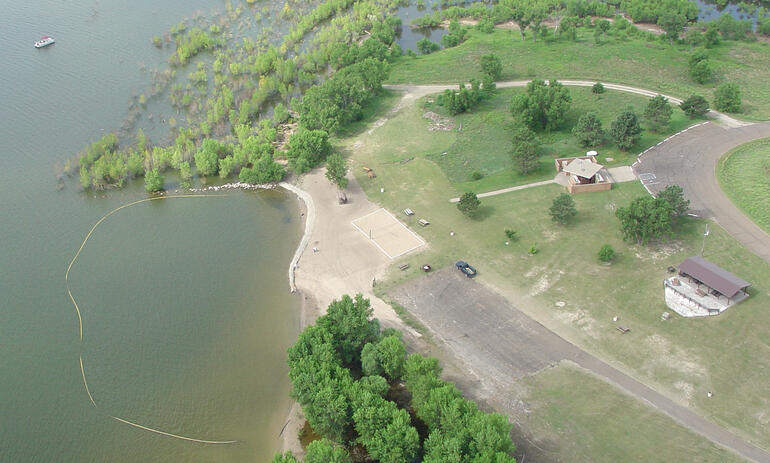 Aerial view of Townsite area and swimming beach