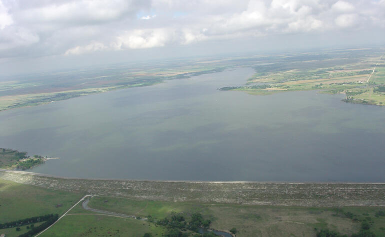 Aerial view of Webster dam