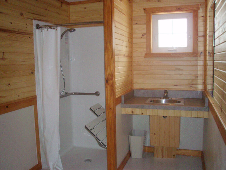Cabin bathroom at Glen Elder State Park