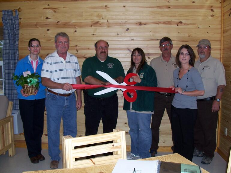 Ribbon cutting at Glen Elder State Park Cabin