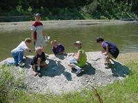 Kids enjoying the Fossil Hike at River Pond