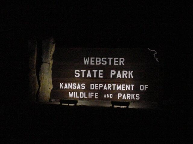 Park Entrance sign at night